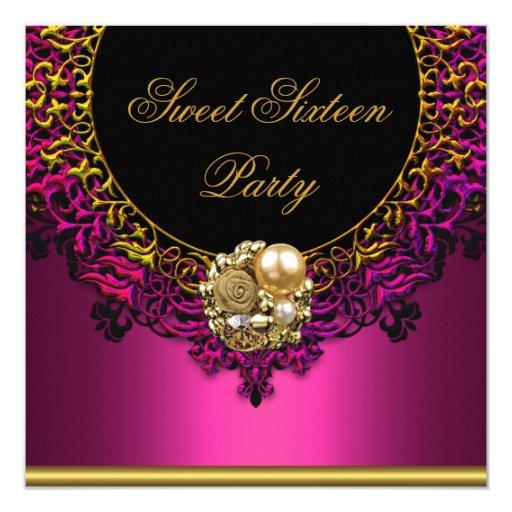 Pink Elegant Sweet Sixteen 16th 16 Birthday Party Card ...