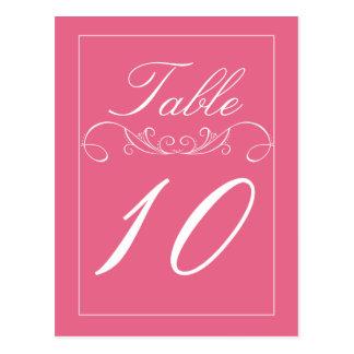 Pink Elegant Swirl Wedding Table Number Cards