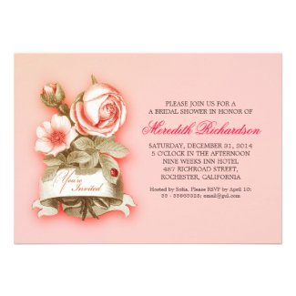 pink elegant vintage bridal shower invitation