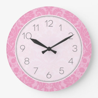Pink Elegant Vintage Damask Clocks