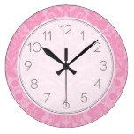 Pink Elegant Vintage Damask Wallclocks