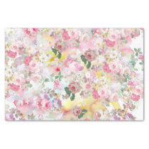 Pink elegant watercolor roses flowers pattern tissue paper