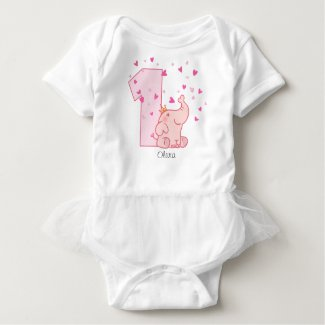 Pink Elephant 1st Birthday Custom Baby Bodysuit