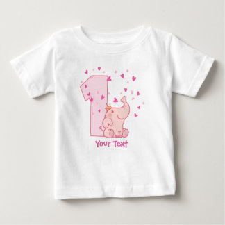 Pink Elephant 1st Birthday Customize Baby T-Shirt
