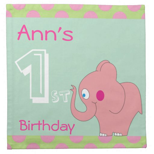 Pink Elephant 1st Birthday Party Napkins  Zazzle