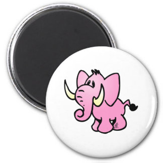 Pink Elephant 2 Inch Round Magnet