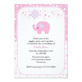 Pink Elephant and Balloon Girls Birthday 5x7 Paper Invitation Card