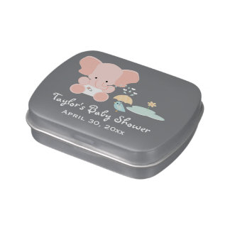 Pink Elephant and Bird Baby Shower Favor Jelly Belly Tin