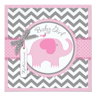Pink Elephant and Chevron Print Baby Shower Card