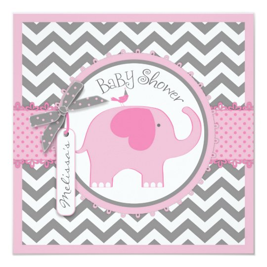 pink elephant and chevron print baby shower card   zazzle, Baby shower invitations