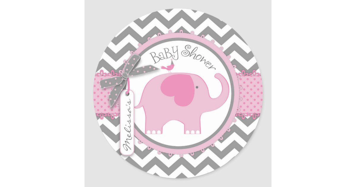 pink elephant and chevron print baby shower classic round sticker, Baby shower invitations