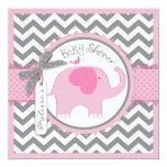 Pink Elephant and Chevron Print Baby Shower Invitation
