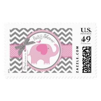 Pink Elephant and Chevron Print Baby Shower Postage