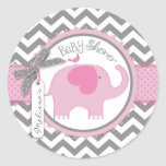Pink Elephant and Chevron Print Baby Shower Classic Round Sticker