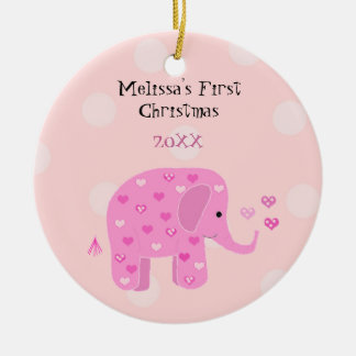 Pink Elephant Baby First Christmas Ceramic Ornament