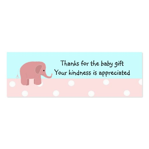 Baby Gift Thank You Card Packs : Pink elephant baby gift thank you double sided mini