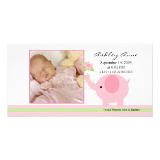 Pink Elephant Baby Girl Birth Annoucement Card