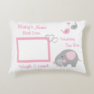 Pink Elephant Baby Girl Birth Stats Photo Nursery Decorative Pillow