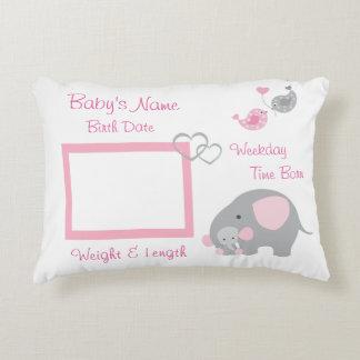 Pink Elephant Baby Girl Birth Stats Photo Nursery Decorative Pillow