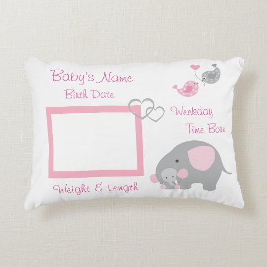 Pink Elephant Baby Birth Stats Photo Nursery Decorative Pillow