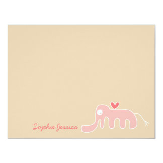 Pink Elephant Baby Girl Custom Thank You Card