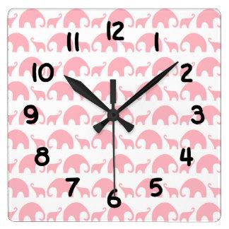 Pink elephant baby girl nursery clock