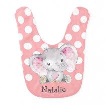 Pink Elephant Baby Girl Personalized Baby Bib