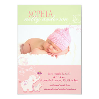Pink Elephant Baby Girl Photo Birth Announcement