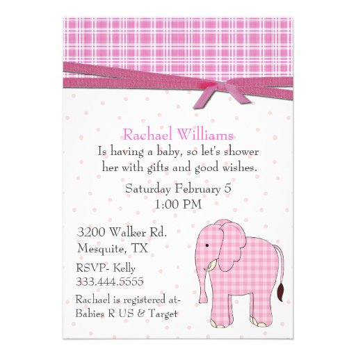 pink elephant baby girl shower invitation 5 x 7 invitation card