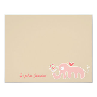 Pink Elephant Baby Girl Shower Thank You Card