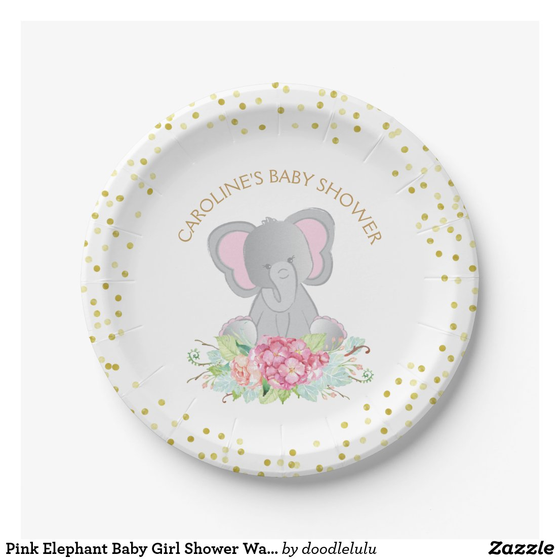 Pink Elephant Baby Girl Shower Watercolor Floral Paper Plate