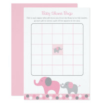 Pink Elephant Baby Shower Bingo Card