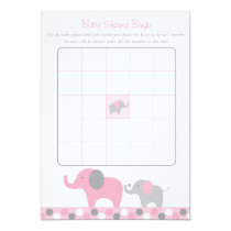 Pink Elephant Baby Shower Bingo Cards