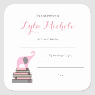 Pink Elephant baby shower book plates, bookplates