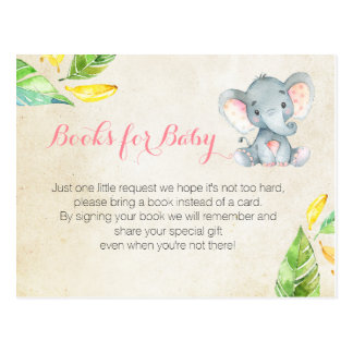 Pink Elephant Baby Shower - Bring a book insert Postcard