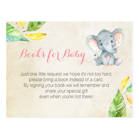 Pink Elephant Baby Shower Bring A Book Insert Postcard Zazzle