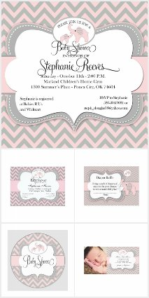 Pink Elephant Baby Shower Collection
