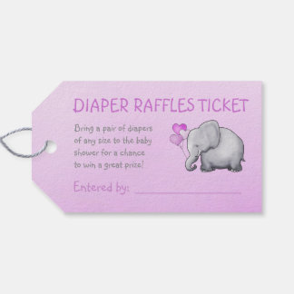 Pink Elephant Baby Shower Diaper Raffle Gift Tags