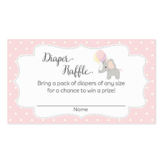 Pink Elephant Baby Shower Diaper Raffle Tickets Business Card
