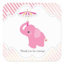 Pink Elephant Baby Shower Favor Sticker