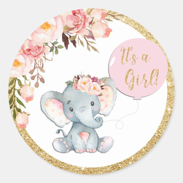 Pink Elephant Baby Shower Favor Sticker Labels Zazzle Com