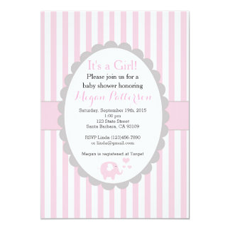 Pink Elephant Baby Shower Invitation for a Girl