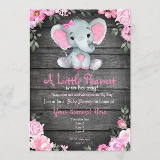 Pink  Elephant Baby Shower invitation, rustic Invitation