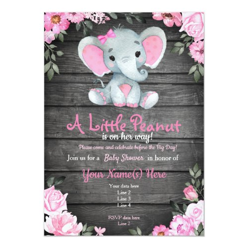 Pink  Elephant Baby Shower invitation rustic Invitation