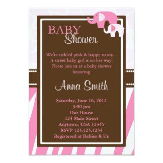 Pink Elephant Baby Shower Invitation Vertical