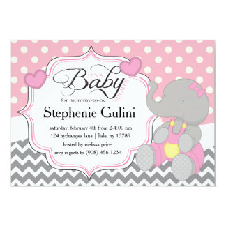 Pink Elephant Baby Shower Invite