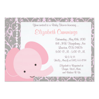 Pink Elephant  Baby Shower invite cute fun simple