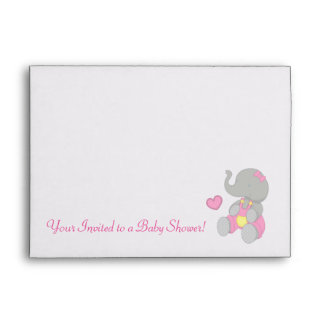 Pink Elephant Baby Shower Matching Envelope