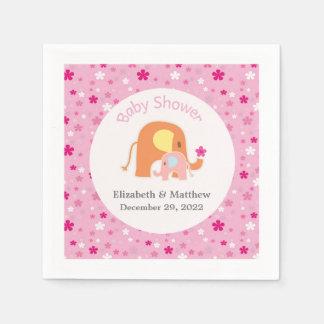 Pink Elephant Baby Shower Napkin