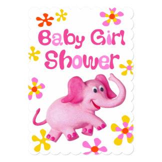 Pink Elephant Baby Shower Nursery Card